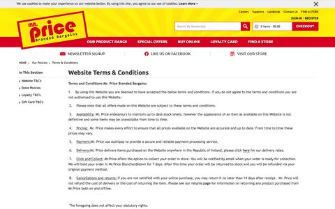 Screenshot of Terms Page mrprice.ie - Website Terms & Conditions | Mr Price | Branded Bargains | Ireland - captured Feb. 22, 2016