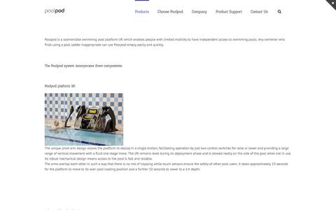 Screenshot of Products Page poolpodproducts.com - Products - Swimming pool lift - captured Sept. 30, 2014