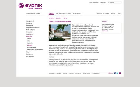 Evonik Industries - Specialty chemicals - Site Essen, Germany - Evonik Industries - Specialty Chemicals