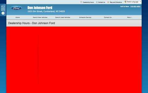Screenshot of Hours Page donjohnsonfordofcumberland.com - Dealership Hours at Don Johnson Ford - Your Cumberland, Wisconsin Ford dealer - captured June 16, 2016