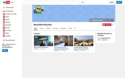 Screenshot of YouTube Page youtube.com - BeachBumVacation  - YouTube - captured Oct. 23, 2014