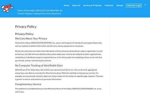 Screenshot of Privacy Page servicesforseniors.org - Privacy Policy - Heart of the Valley, SERVICES FOR SENIORS, Inc. - captured Sept. 24, 2018