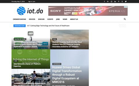 Screenshot of Home Page iot.do - IoT - Internet of Things - captured May 18, 2018
