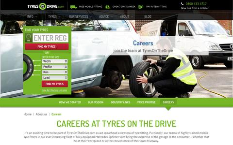 Screenshot of Jobs Page tyresonthedrive.com - Join The Team | Tyres On The Drive - captured Oct. 22, 2015