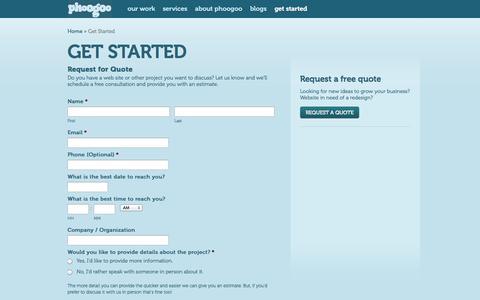 Screenshot of Contact Page phoogoo.com - Get Started   Phoogoo - captured Sept. 29, 2014