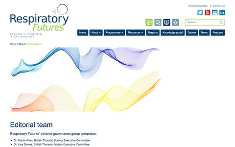 Screenshot of Team Page respiratoryfutures.org.uk - Editorial team - captured March 12, 2016