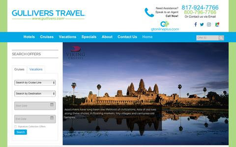 Screenshot of Home Page gullivers.com - Gulliver's Travel Service-Full Service Travel Agency Ft Worth TX - captured Sept. 30, 2018