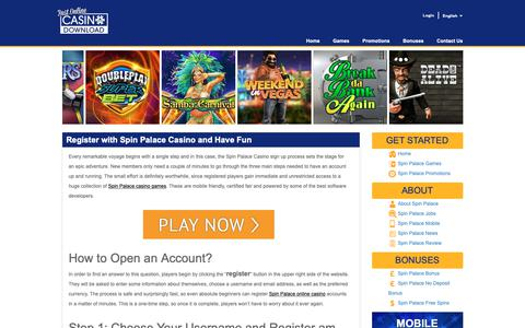 Screenshot of Signup Page bestonlinecasinodownload.com - Wrap Up the Spin Palace Casino Sign up Start Playing - captured Oct. 19, 2018