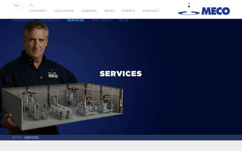 Screenshot of Services Page meco.com - Services | MECO Water Purification Systems, Water Purifier & Filtration, Reverse Osmosis - captured July 26, 2018