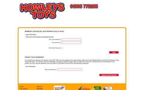 Screenshot of Login Page howleys.co.uk - Howleys Toys Online Toyshop - Howleys Toy Shop Weymouth - captured Oct. 3, 2014
