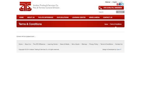 Screenshot of Terms Page atspest.com.sa - Terms & Conditions «  ATS Co. — Pest Control & Termit - captured Oct. 27, 2014