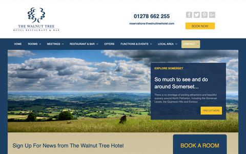 Screenshot of Signup Page walnuttreehotel.com - Contact from The Walnut Tree Hotel, Bridgwater, Somerset - captured Oct. 25, 2018