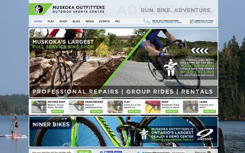 Screenshot of Home Page muskokaoutfitters.com - Muskoka Outfitters | Outdoor Sports Centre - captured Sept. 30, 2014