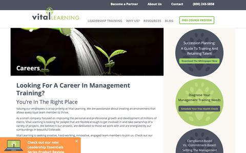 Screenshot of Jobs Page vital-learning.com - Explore Vital Careers To Become A Loyal Team Member - captured Oct. 20, 2018
