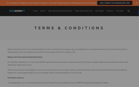 Screenshot of Terms Page feelgoodpt.co.uk - Terms & Conditions - Feel Good PT | Expert Personal Trainer & Personal Training Tunbridge Wells, Tonbridge, Sevenoaks - captured Jan. 8, 2016