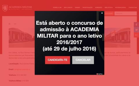 Screenshot of Contact Page academiamilitar.pt - Academia Militar - Contact us - captured July 24, 2016