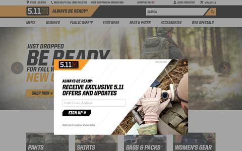 Screenshot of Home Page 511tactical.com - 5.11 Tactical – Purpose-Built Tactical Gear, Apparel & Accessories - captured Oct. 1, 2015
