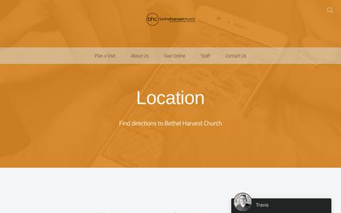 Screenshot of Locations Page bethelharvestchurch.com - Locations - Bethel Harvest Church - captured Aug. 1, 2018