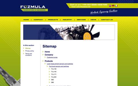 Screenshot of Site Map Page fozmula.com - Fozmula | The fuel level sender and liquid level specialists - captured Oct. 1, 2014