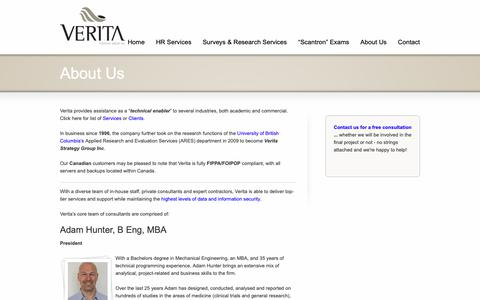 Screenshot of About Page verita-group.com - About Us - Verita Group - captured Oct. 18, 2018