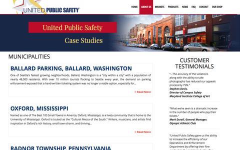 Screenshot of Case Studies Page upsafety.net - Case Studies Archives | United Public Safety - captured Feb. 13, 2016