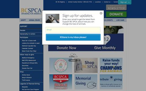 Screenshot of Support Page spca.bc.ca - BC SPCA: How to help animals in need today - captured Jan. 17, 2016