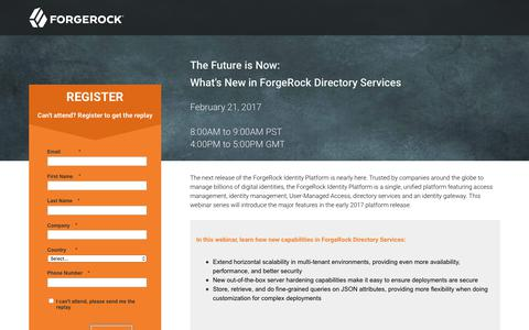 Screenshot of Landing Page forgerock.com - The Future is Now: What's New in ForgeRock Directory Services - captured May 11, 2018