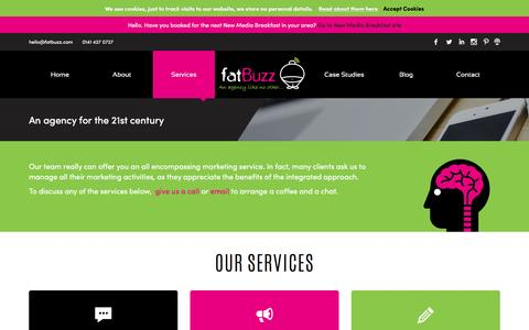Screenshot of Services Page fatbuzz.com - Services Archive - fatBuzz - captured Dec. 8, 2015