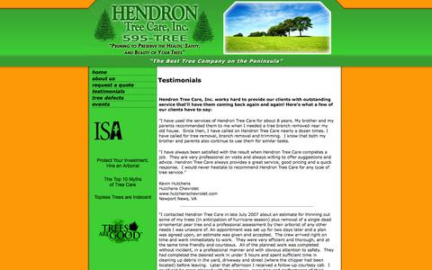 Screenshot of Testimonials Page hendrontreecare.com - Affordable Tree Care Service in Hampton Roads - captured Oct. 2, 2014