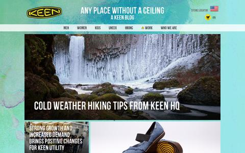 Screenshot of Blog keenfootwear.com - Home - Any Place Without A Ceiling - captured Feb. 12, 2016