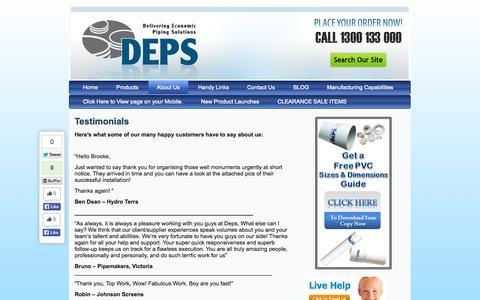 Screenshot of Testimonials Page deps.com.au - Testimonials | DEPS - captured Sept. 30, 2014