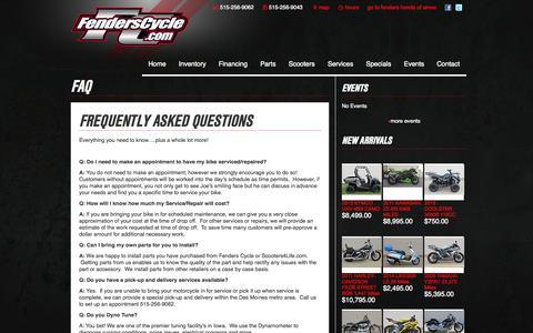 Screenshot of FAQ Page fenderscycle.com - FAQ   Fenders Cycle - captured Oct. 5, 2014