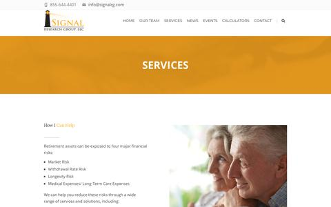 Screenshot of Services Page signalrg.com - Services - Signal Research Group, LLC - captured Oct. 19, 2018