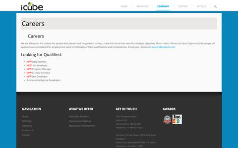 Screenshot of Jobs Page icubecsi.com - Careers – iCube Consulting Services - captured Oct. 13, 2018