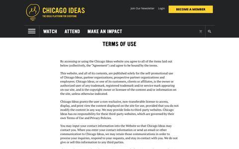 Screenshot of Terms Page chicagoideas.com - Chicago Ideas - captured Sept. 27, 2018