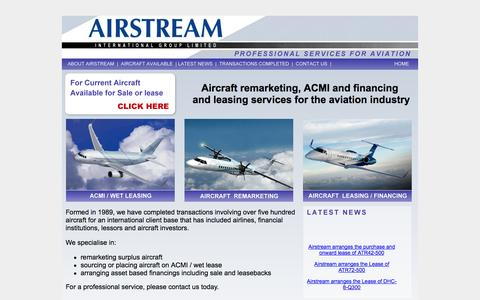 Screenshot of Home Page airstream.aero - Airstream - Aircraft Finance|Leasing|ACMI|Sales|Wet Leasing - captured Oct. 4, 2014