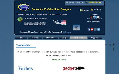 Screenshot of Testimonials Page suntactics.com - Suntactics solar charger testimonials | reviews - captured Nov. 5, 2017