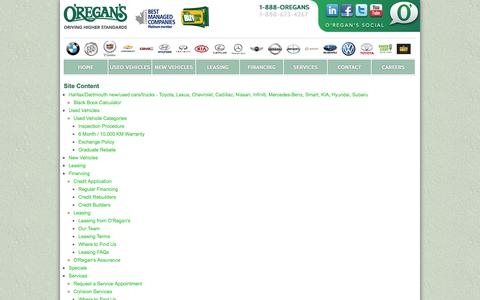 Screenshot of Site Map Page oregans.com - Site Map - O'Regan's - captured Oct. 27, 2014