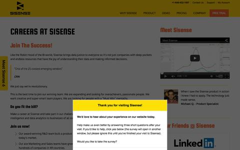 Screenshot of Jobs Page sisense.com - Sisense - Jobs - captured Jan. 20, 2016
