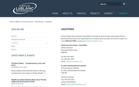 Screenshot of Contact Page Locations Page pinchinleblanc.com - Locations - captured Oct. 22, 2014