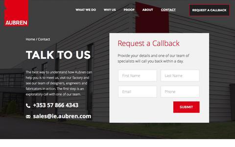 Screenshot of Contact Page aubren.com - Air Design Services | Contact Us | Aubren - captured Feb. 6, 2016