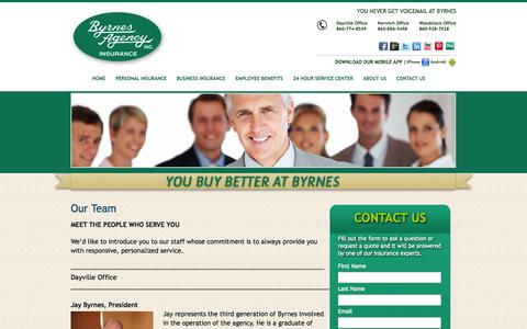 Screenshot of Team Page byrnesagency.com - About the Byrnes Agency Connecticut Insurance Team - captured Oct. 5, 2014