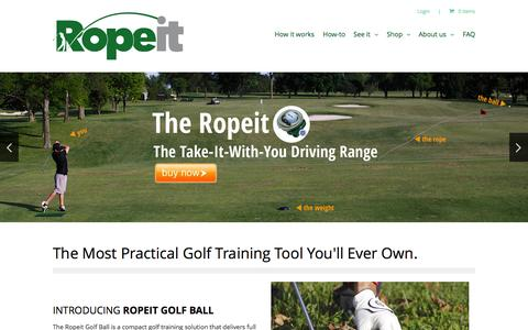 Screenshot of Home Page theropeit.com - Ropeit Golf Ball | The Take-it-with-you Driving Range - captured Oct. 6, 2014