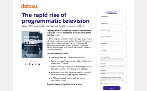 Screenshot of Landing Page dataxu.com - Rapid rise of programmatic television 2016 - captured Oct. 23, 2017