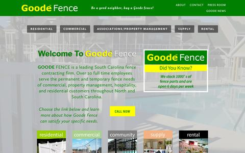 Screenshot of Home Page goodefence.com - Myrtle Beach Fencing Contractors & Installations | GoodeFence - captured Oct. 20, 2018