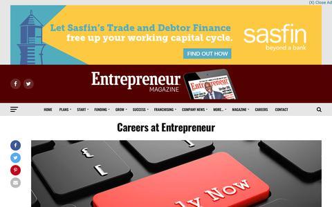 Screenshot of Jobs Page entrepreneurmag.co.za - Careers at Entrepreneur | Entrepreneur - captured Sept. 28, 2018