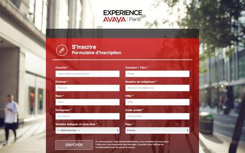 Screenshot of Landing Page avaya.com - Experience Avaya 2016 | Paris | S'Inscrire - captured Dec. 29, 2016
