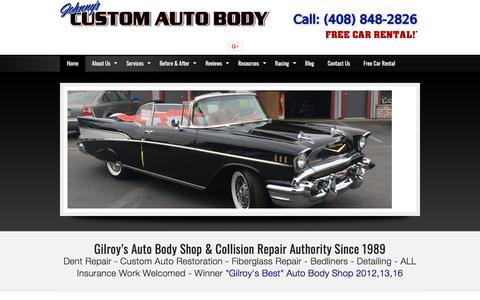 Screenshot of Home Page johnnyscustomautobody.com - Auto Body Shop Gilroy, CA | 408-848-2826 | Johnny's Custom Auto Body | Dent Repair - captured Jan. 20, 2018
