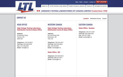 Screenshot of Contact Page Locations Page ltl.ca - Locations | Lineman's Testing Laboratories of Canada - captured Nov. 10, 2018
