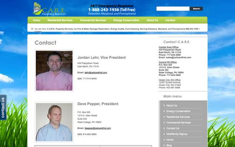 Screenshot of Contact Page callcarefirst.com - Contact «  C.A.R.E. Property Services, Inc Fire & Water Damage Restoration, Energy Audits, Duct Cleaning, Serving Delaware, Maryland, and Pennsylvania 888-243-1936 - captured Oct. 1, 2014
